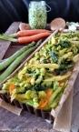 Für das Spätzle Festival …Asiatische Bärlauchspätzle- Gemüse- Frittata mit Spargeln, Pak Choi und Shitake Pilze